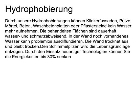 Hydrophobierung für  Bernstorf